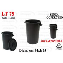 BIDONE LT75 S/COP SOVRAP. NERO