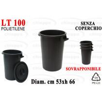 BIDONE LT100 S/COP SOVRAP.NERO